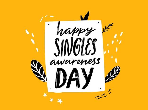 Bonne journée de sensibilisation des célibataires dire inspirant pour la saint-valentin citation manuscrite noire