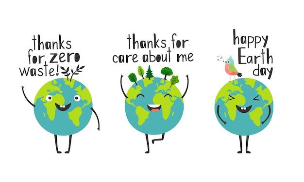 Bonne journée de la terre avec des planètes heureuses en remerciant pour les soins