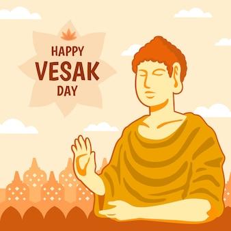 Bonne journée vesak avec bouddha