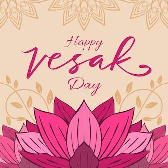 Bonne journée vesak avec fleur de lotus