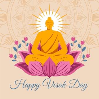 Bonne journée vesak avec des fleurs de lotus et une statue de bouddha