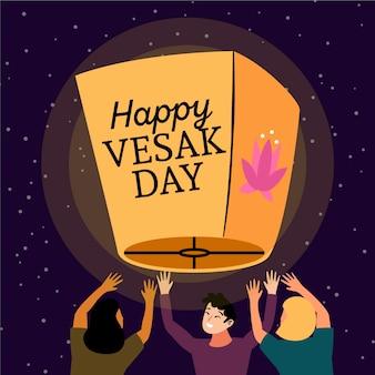 Bonne journée vesak avec des gens et une lanterne