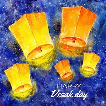 Bonne journée vesak avec des lanternes