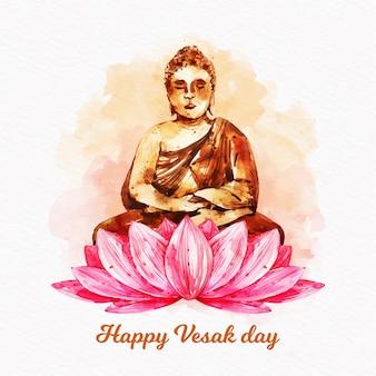 Bonne journée vesak avec lotus et bouddha