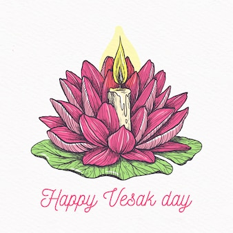 Bonne journée vesak avec lotus et bougie