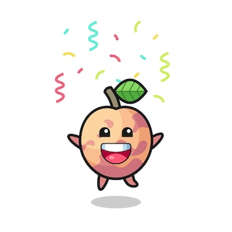 Bonne mascotte de fruits pluot sautant pour félicitation avec des confettis de couleur, design de style mignon pour t-shirt, autocollant, élément de logo