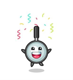 Bonne mascotte loupe sautant pour félicitation avec des confettis de couleur, design de style mignon pour t-shirt, autocollant, élément de logo