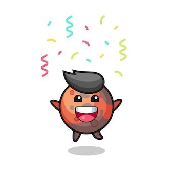 Bonne mascotte de mars sautant pour félicitation avec des confettis de couleur, design de style mignon pour t-shirt, autocollant, élément de logo