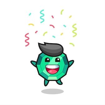 Bonne mascotte de pierres précieuses émeraude sautant pour félicitation avec des confettis de couleur, design de style mignon pour t-shirt, autocollant, élément de logo