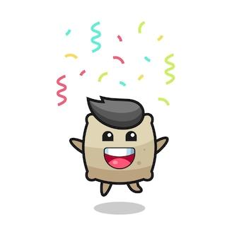 Bonne mascotte de sac sautant pour félicitation avec des confettis de couleur, design de style mignon pour t-shirt, autocollant, élément de logo