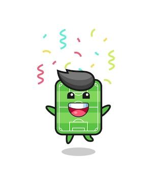 Bonne mascotte de terrain de football sautant pour félicitation avec des confettis de couleur, design de style mignon pour t-shirt, autocollant, élément de logo