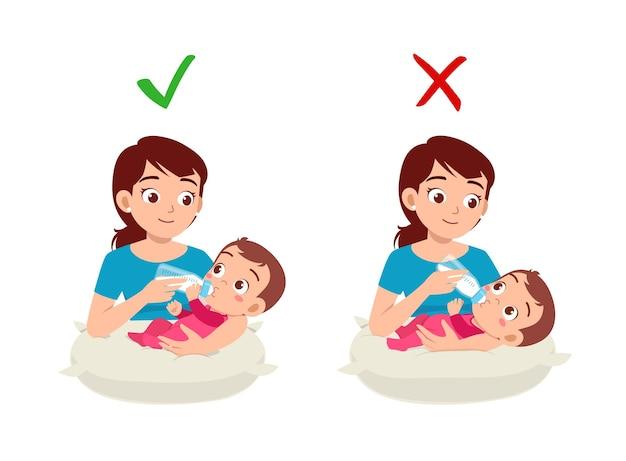 Bonne et mauvaise façon pour la mère de nourrir bébé