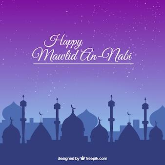 Bonne mawlid mosquée fond
