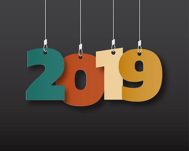 Bonne nouvelle année 2019. carte de voeux. design coloré. illustration vectorielle