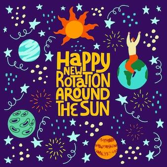 Bonne nouvelle rotation autour du soleil lettrage vectoriel dessiné à la main