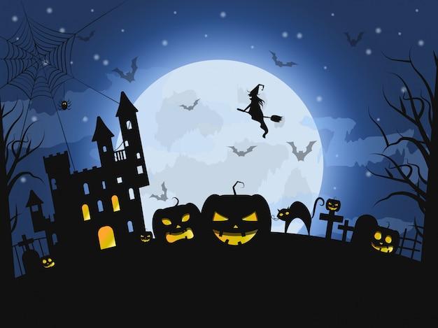 Bonne nuit d'halloween, illustration de concept d'horreur