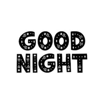 Bonne nuit lettrage sur fond blanc