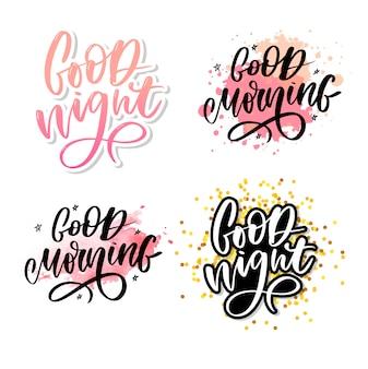 Bonne nuit. typographie dessinée à la main.