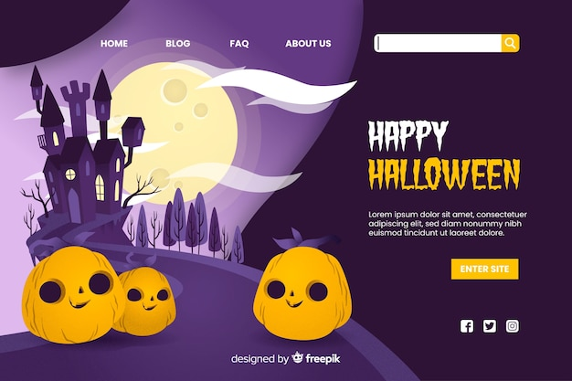 Bonne page d'atterrissage d'halloween