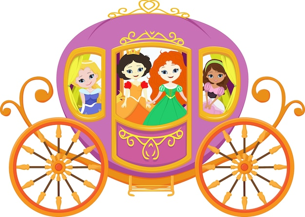 Bonne princesse avec carrosse royale