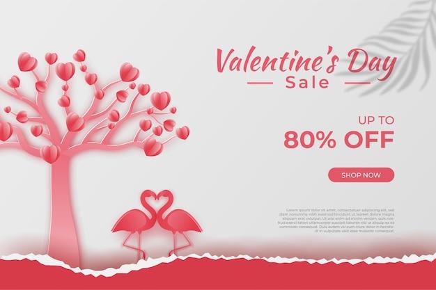 Bonne promotion de vente de bannières de la saint-valentin et remise, style art papier découpé.