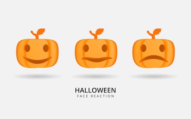 Bonne réaction du visage citrouille d'halloween