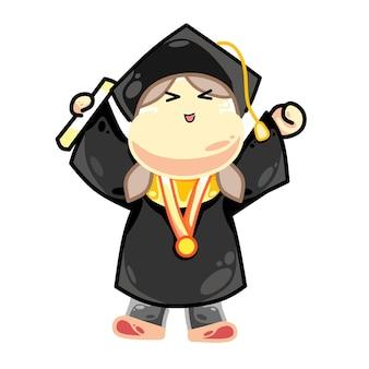 Bonne remise des diplômes d'une étudiante à la peau blanche
