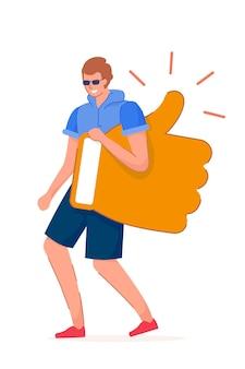 Bonne rétroaction. personnage de blogueur jeune homme portant comme symbole thumbs-up marchant sur fond blanc. rétroaction positive et bonne illustration de reconnaissance