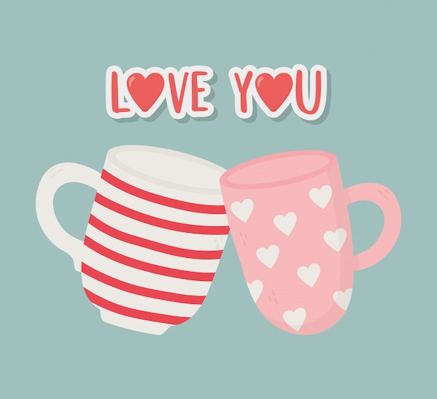 Bonne saint valentin, carte de décoration de tasses à café romantique