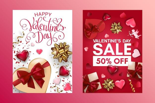 Bonne saint-valentin et cartes de vente avec boîte-cadeau, coeurs de volume et arcs.