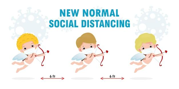 Bonne saint valentin avec covid 19 et infographie de distanciation sociale nouvelle normale