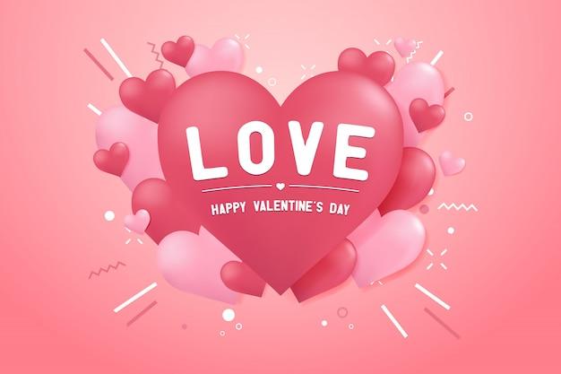 Bonne saint valentin avec fond de forme ballon coeur