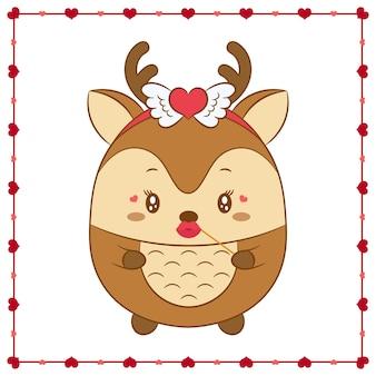 Bonne saint valentin mignon bébé animal cerf dessin avec cadre coeurs