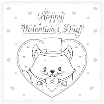 Bonne saint valentin mignon renard dessin carte postale grand coeur croquis à colorier