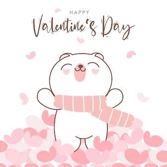 Bonne saint valentin avec ours mignon doodle