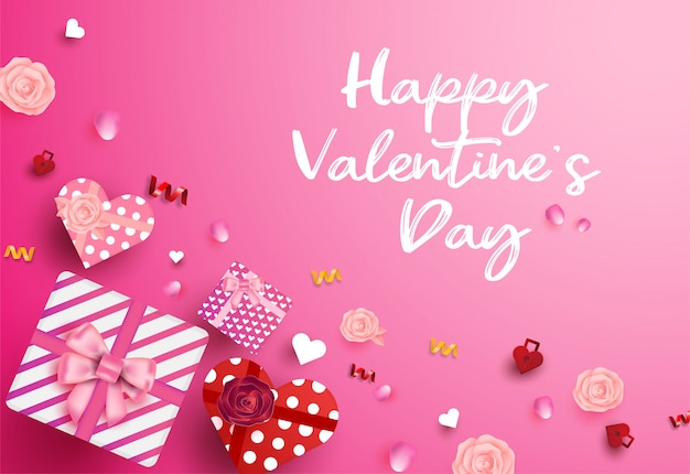 Bonne saint valentin vue de dessus boîte cadeau en forme de coeur.