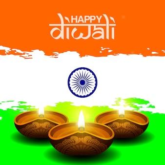 Bonne salutation diwali avec bougie diya