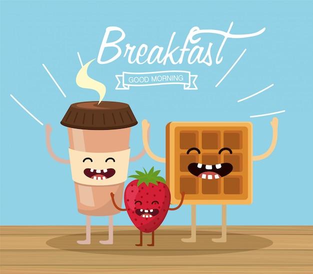 Bonne tasse en plastique de café avec gaufres et fraises