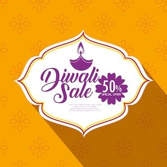 Bonne vente de diwali avec bougie