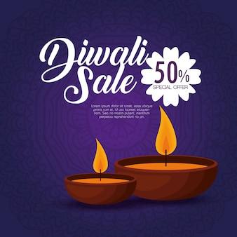 Bonne vente de diwali avec des bougies