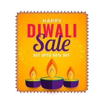 Bonne vente de diwali avec trois diya