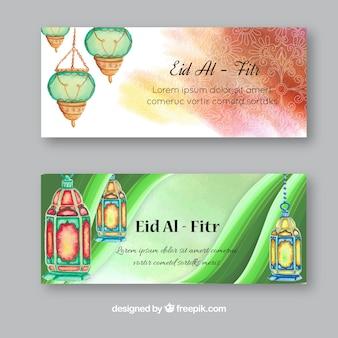 Bonnes bannières d'aquarelle d'eid al-fitr