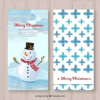 Bonnes bannières de bonhomme de neige et de flocons de neige