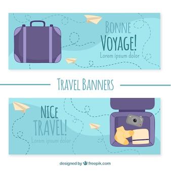 Bonnes bannières de voyage avec des bagages à la main