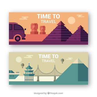 Bonnes bannières de voyage en conception plate