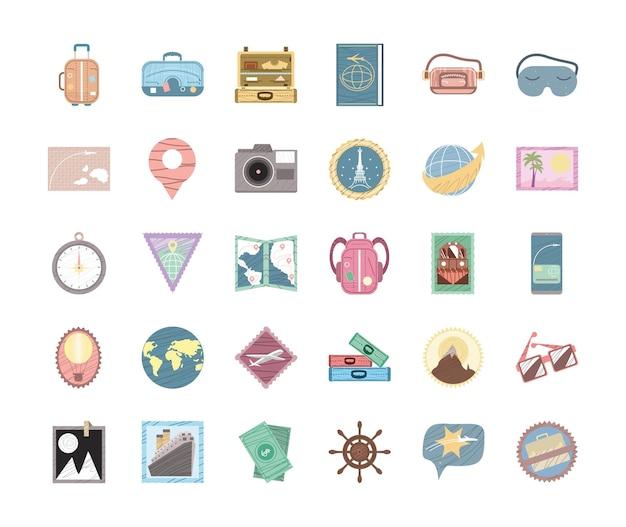 Bonnes icônes de voyage