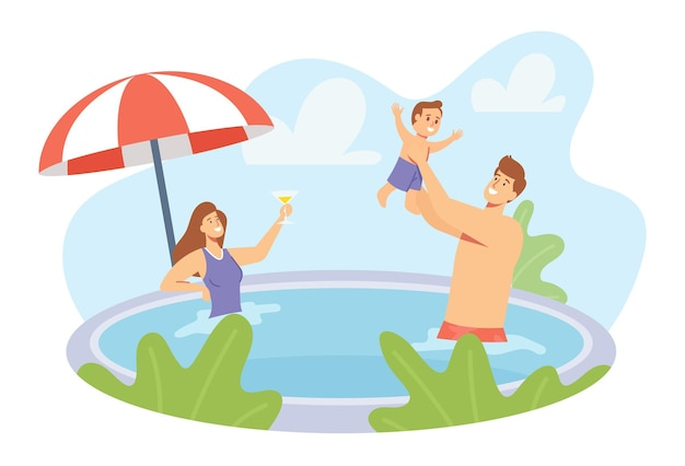 Bonnes vacances en famille. jeunes parents et personnages de petits enfants jouant dans la piscine. père éclaboussant avec son fils