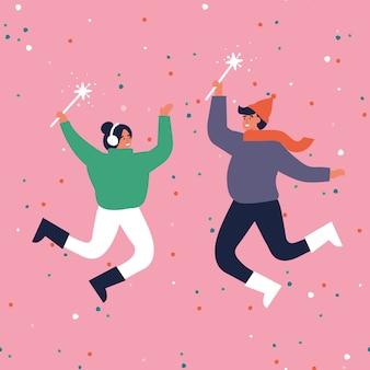 Bonnes vacances d'hiver. un couple chaudement habillé saute et tient des étincelles. joyeuses fêtes de noël. illustration dans un style plat.