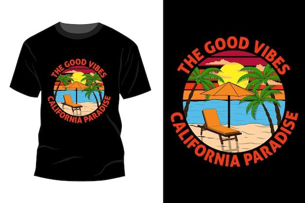 Les bonnes vibrations californie paradis t-shirt maquette design vintage rétro