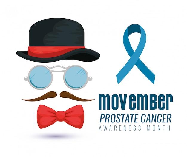 Bonnet, lunettes et moustache avec ruban bleu